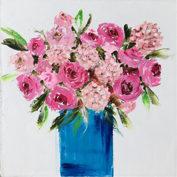 Pink Flowers in a Blue Vase painting Emma Bell - Christenberry Collection