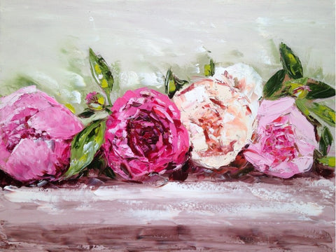 Row of Peonies painting Emma Bell - Christenberry Collection