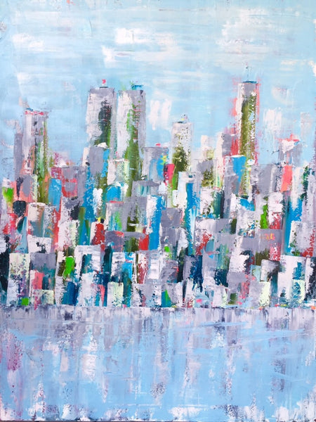 Urban Metropolis painting Emma Bell - Christenberry Collection