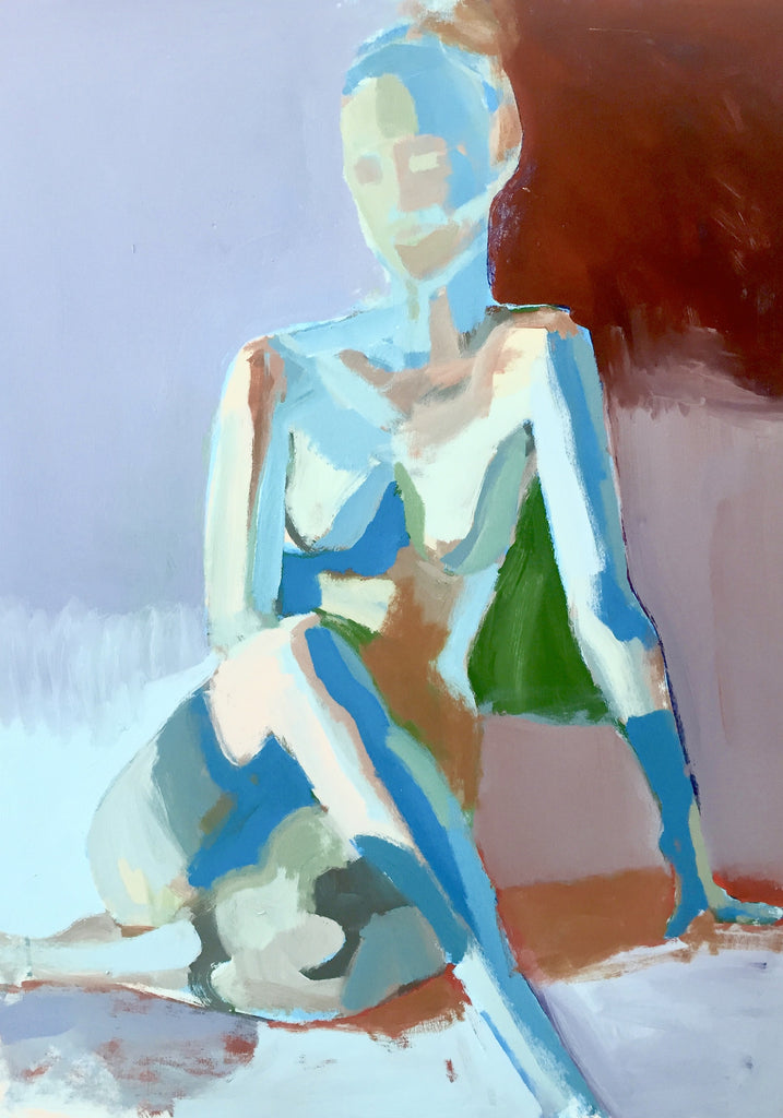 Sapphire Pose painting Teil Duncan - Christenberry Collection