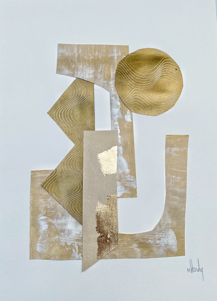 Gold Collage II painting Mary Kathryn Kendig - Christenberry Collection
