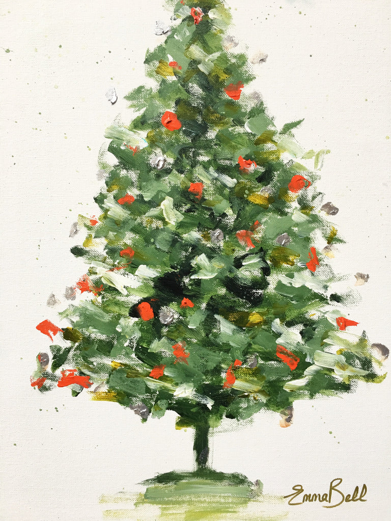 Green Christmas Tree painting Emma Bell - Christenberry Collection