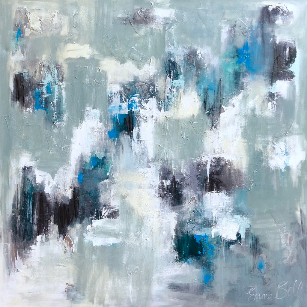 Aqua Blue Haze painting Emma Bell - Christenberry Collection
