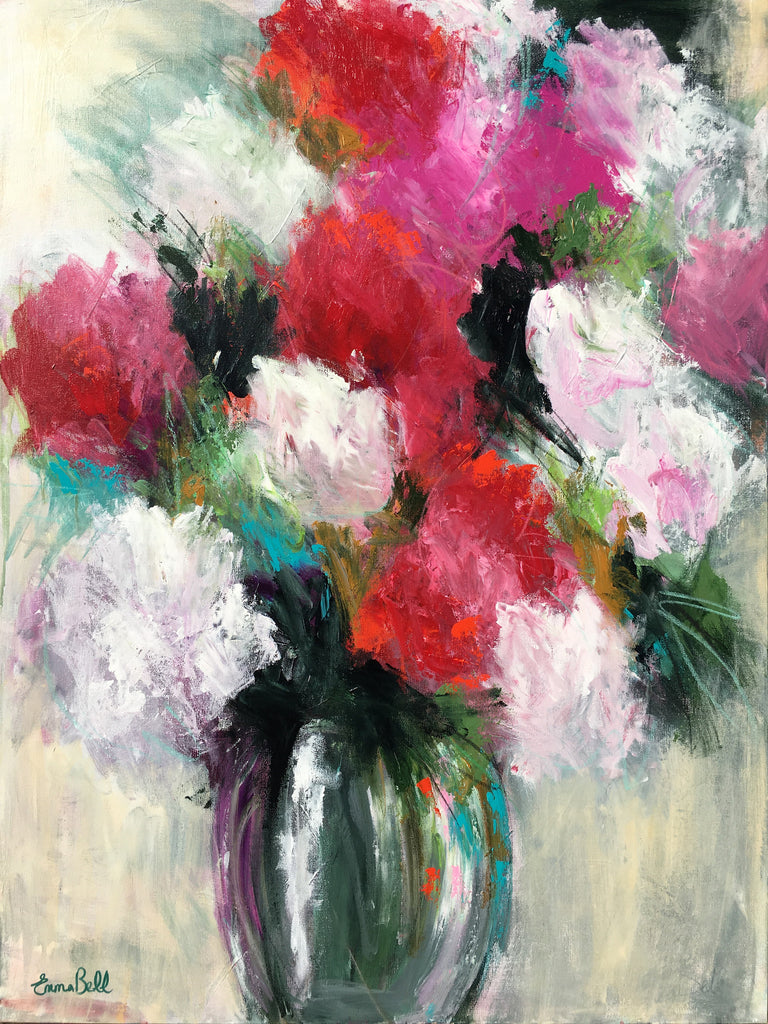 Red and White Flowers painting Emma Bell - Christenberry Collection