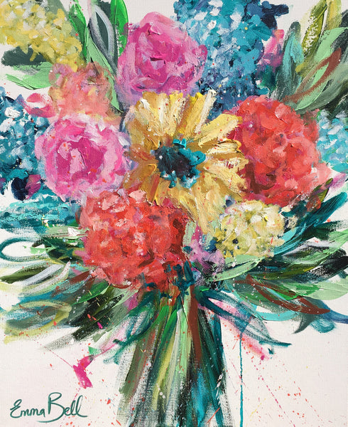 Bright Floral Frenzy painting Emma Bell - Christenberry Collection