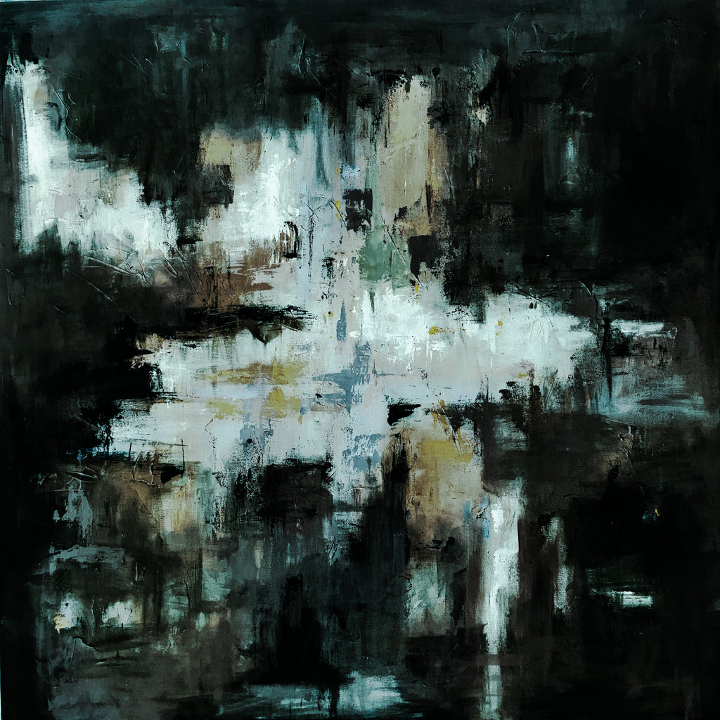Black and White Haze painting Emma Bell - Christenberry Collection
