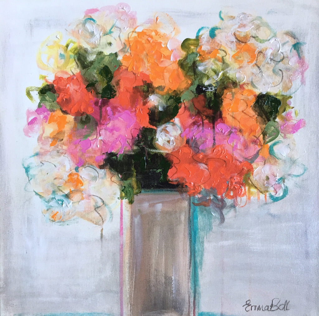 Bright Floral Vase 2 painting Emma Bell - Christenberry Collection