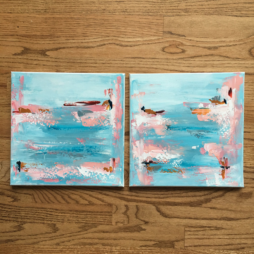 Mini Aqua Seascapes painting Emma Bell - Christenberry Collection