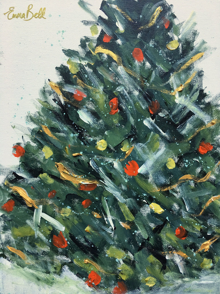 Gold and Red Christmas Tree painting Emma Bell - Christenberry Collection