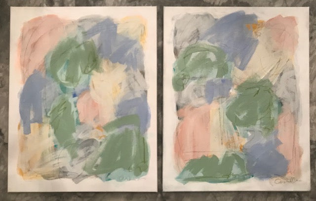 Naive Hues I and II painting Ashley Williams - Christenberry Collection