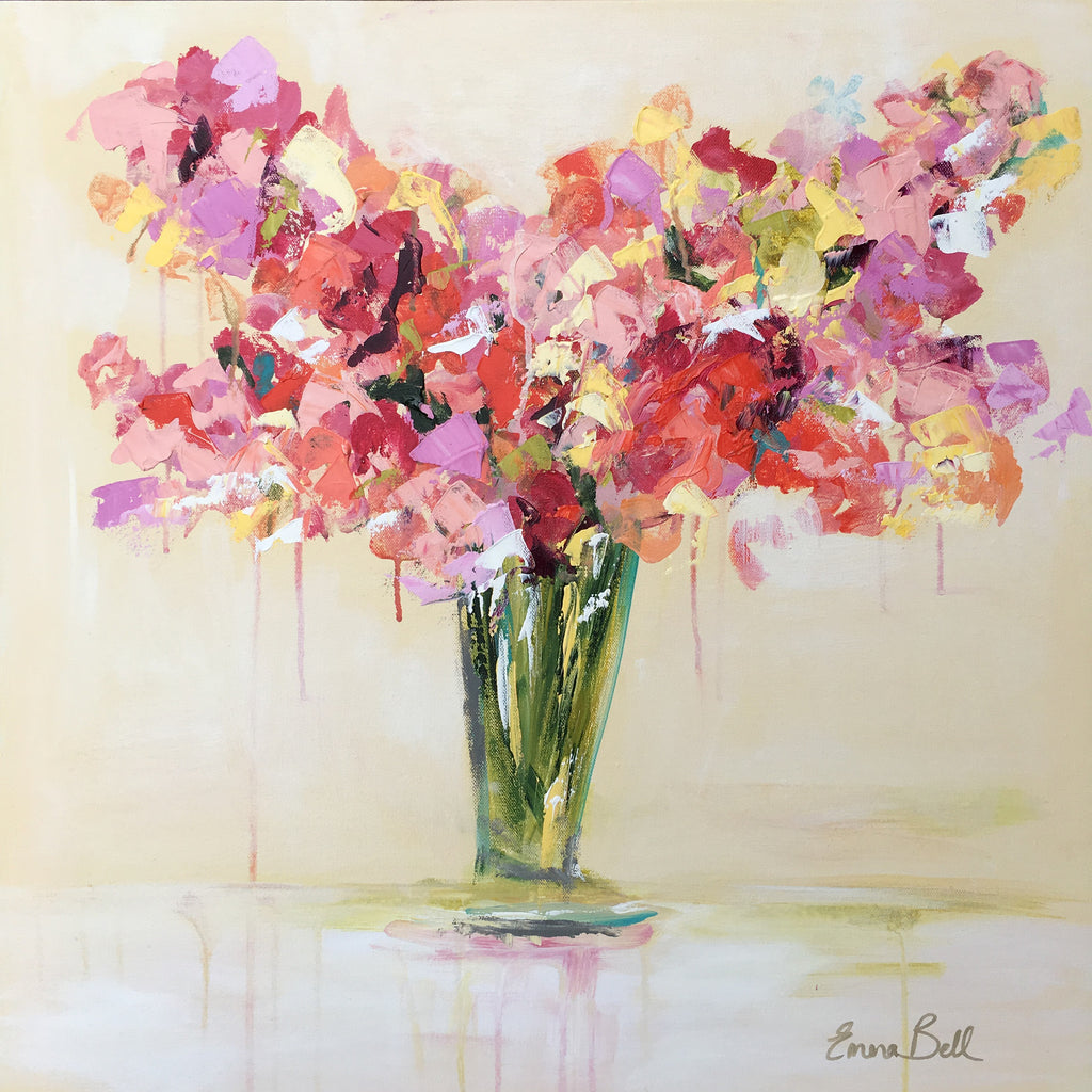 Vase of Sweet Peas painting Emma Bell - Christenberry Collection