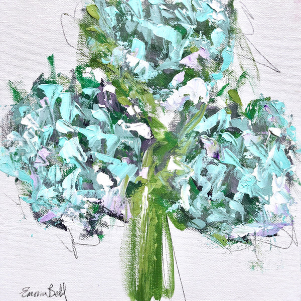 Aqua hydrangeas I painting Emma Bell - Christenberry Collection