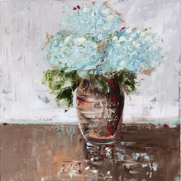 Delicate Blue Hydrangeas painting Emma Bell - Christenberry Collection