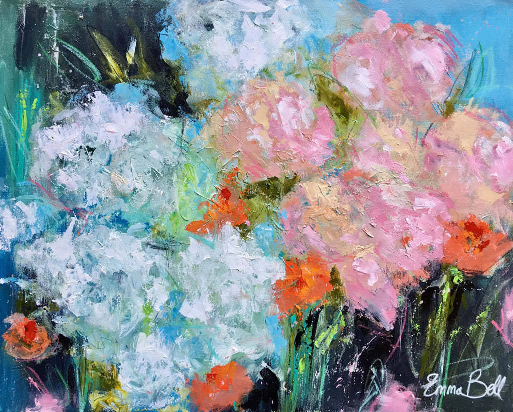 Peonies and Hydrangeas painting Emma Bell - Christenberry Collection