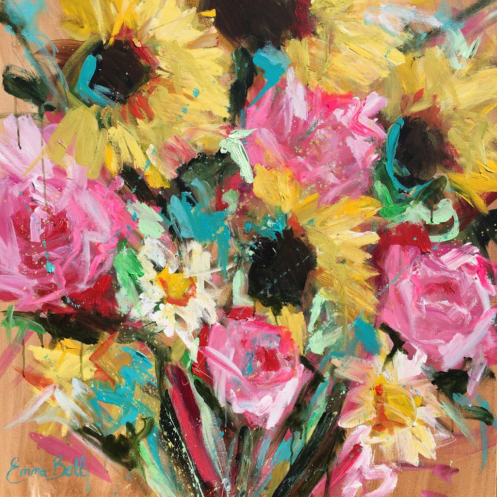 Sunflower, Peony, and Daisy Frenzie painting Emma Bell - Christenberry Collection