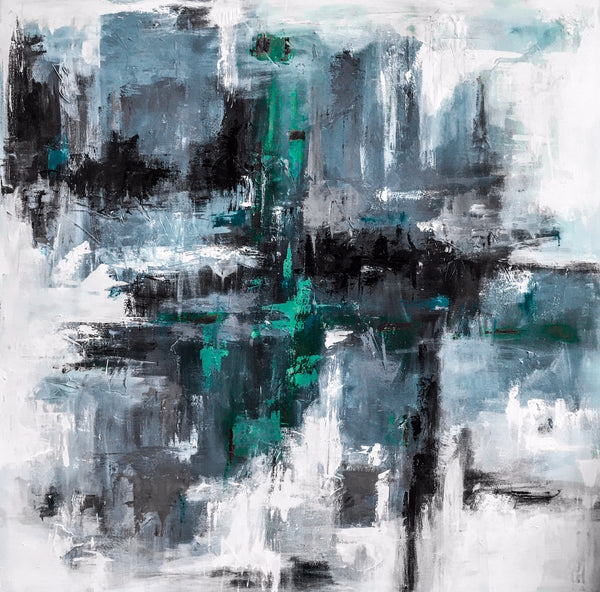 Aqua Blue Gray Mist painting Emma Bell - Christenberry Collection