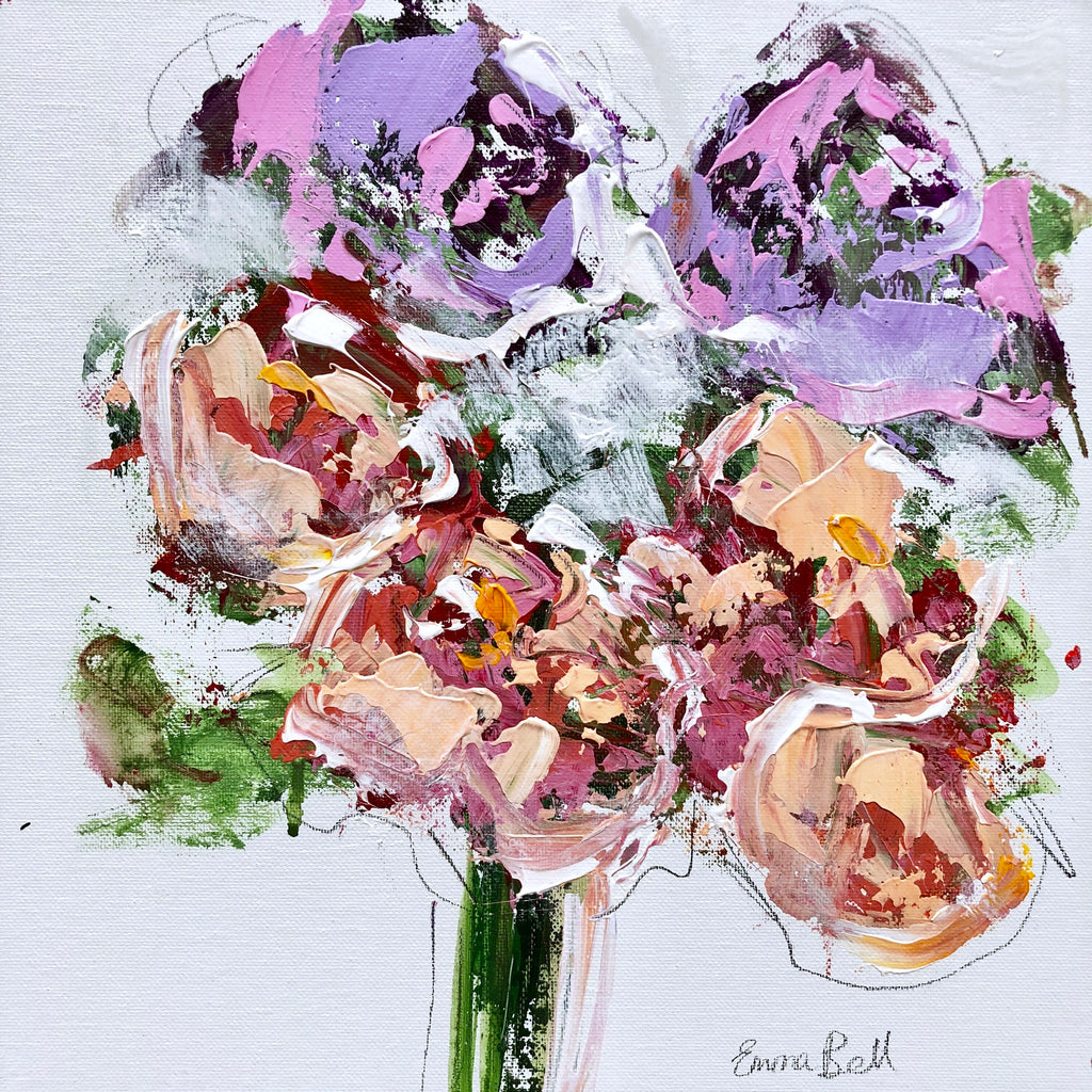 Lilac and Blush Flowers II painting Emma Bell - Christenberry Collection