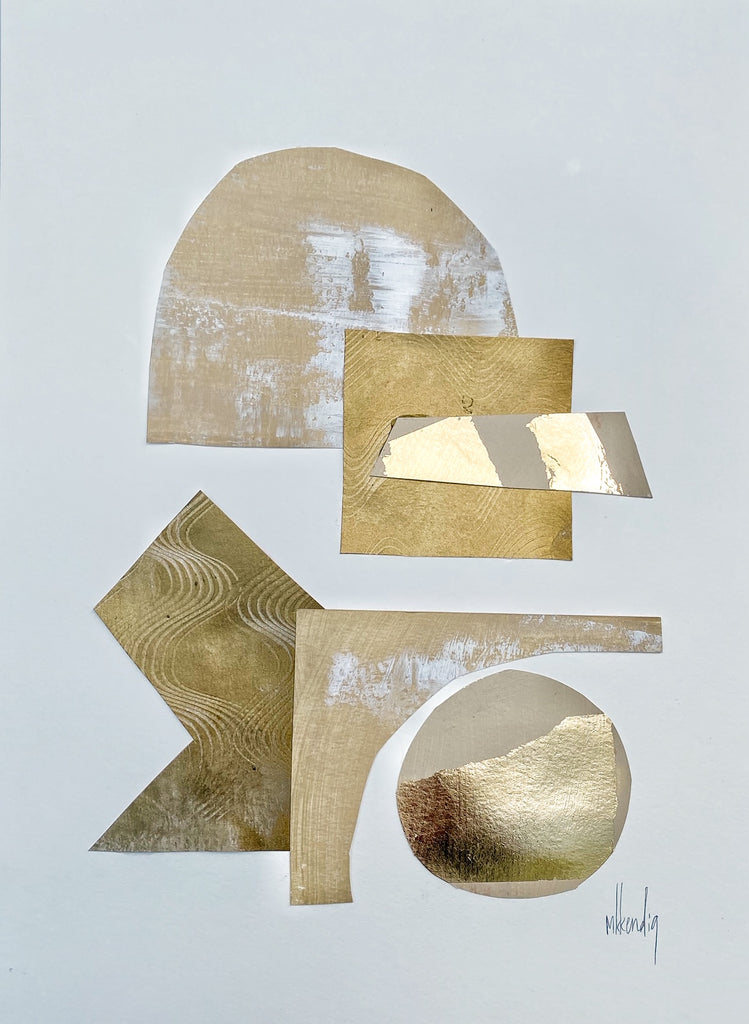 Gold Collage III painting Mary Kathryn Kendig - Christenberry Collection