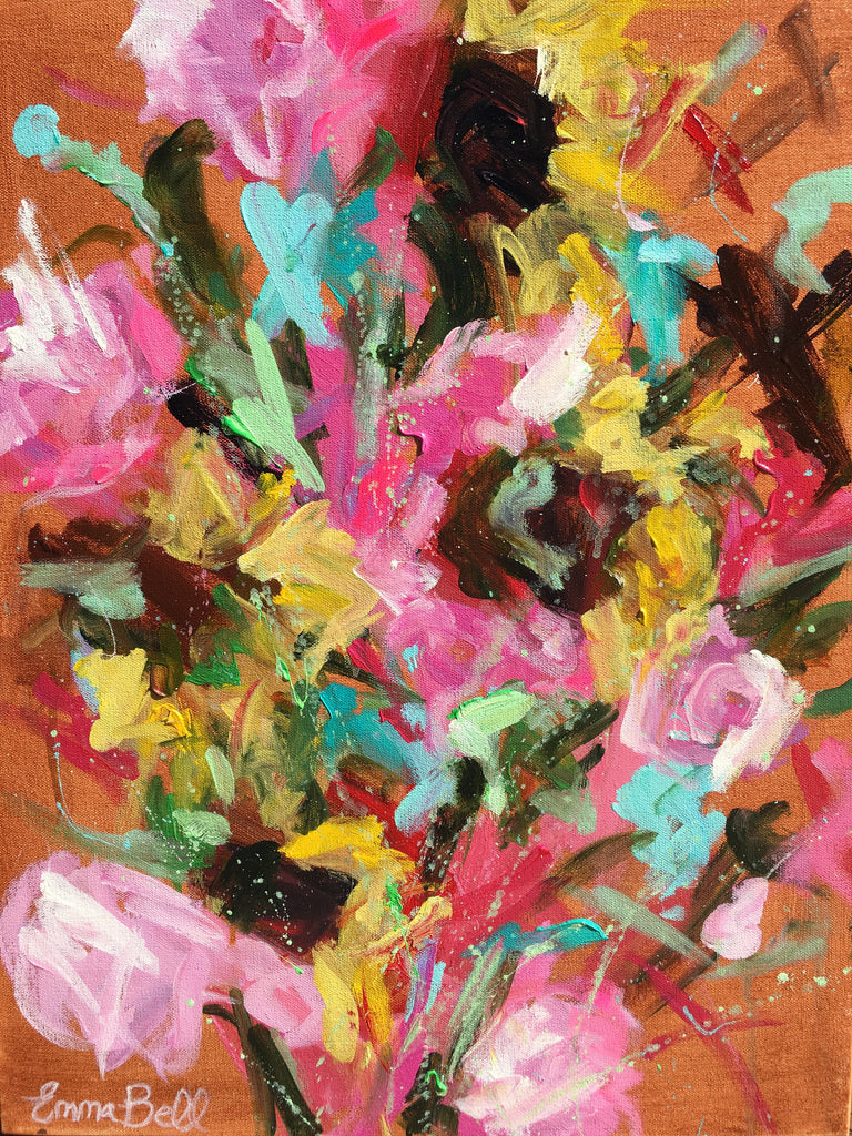 Bunch of Peonies and Sunflowers painting Emma Bell - Christenberry Collection