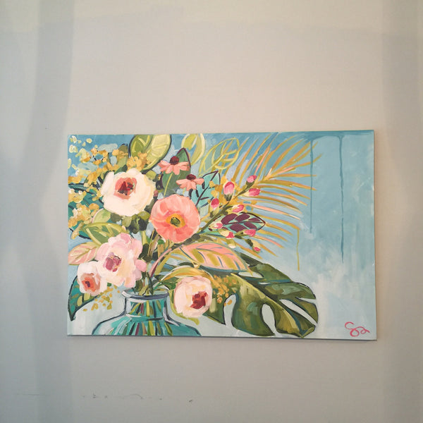 Coral Floral painting Shields Catone - Christenberry Collection