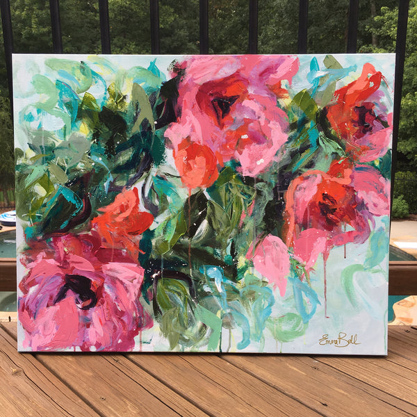 Pink Flowers Abstract painting Emma Bell - Christenberry Collection