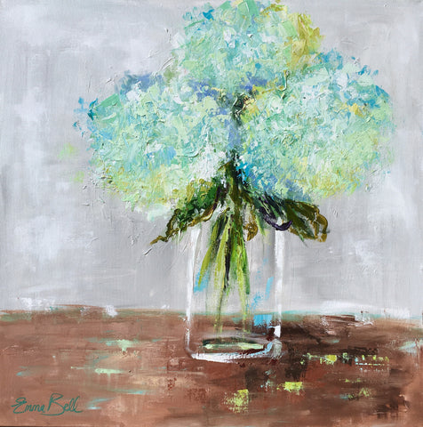 Aqua Hydrangeas in Glass Vase