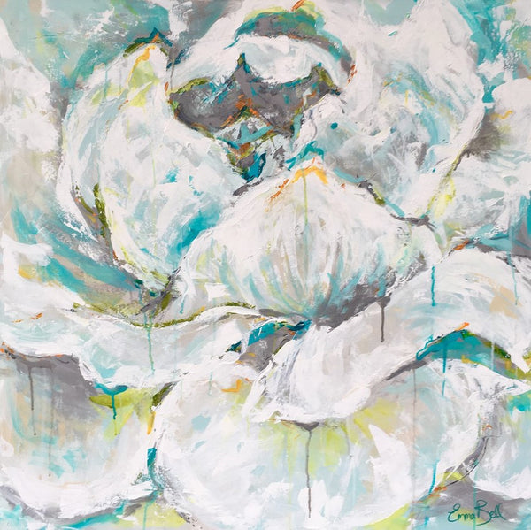 White and Aqua Rose | Christenberry Collection
