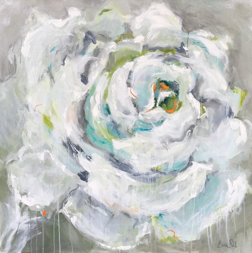 One White Rose painting Emma Bell - Christenberry Collection