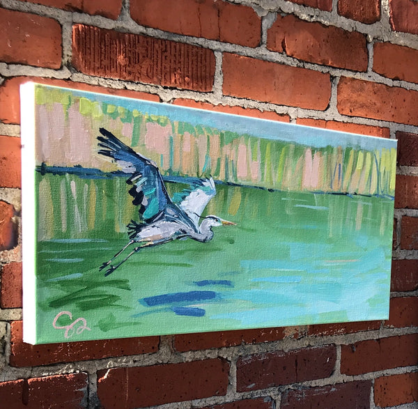 Blue Heron in Flight painting Shields Catone - Christenberry Collection