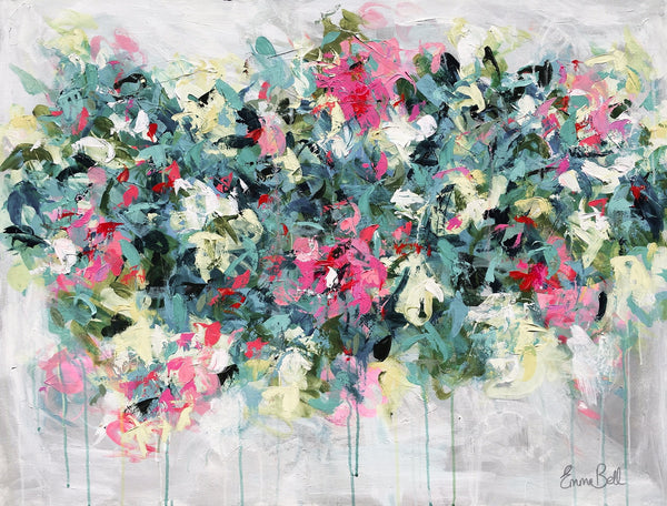 Aqua Pink Floral Flirt painting Emma Bell - Christenberry Collection