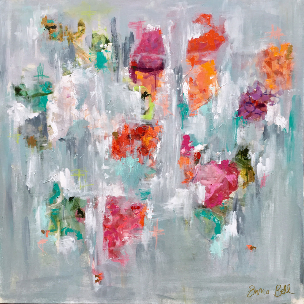 Bright Floral Abstract painting Emma Bell - Christenberry Collection