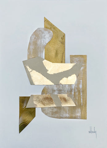 Gold Collage IV painting Mary Kathryn Kendig - Christenberry Collection