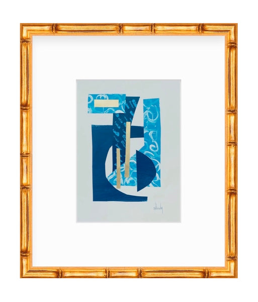 Blue Collage IV painting Mary Kathryn Kendig - Christenberry Collection