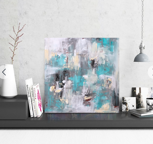 Aqua Abstract painting Emma Bell - Christenberry Collection