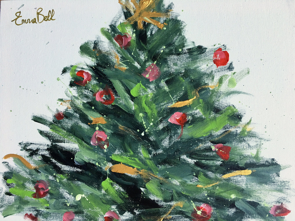 Gold and Red Christmas Tree 2 painting Emma Bell - Christenberry Collection
