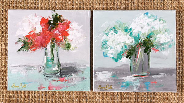 Red Flowers painting Emma Bell - Christenberry Collection