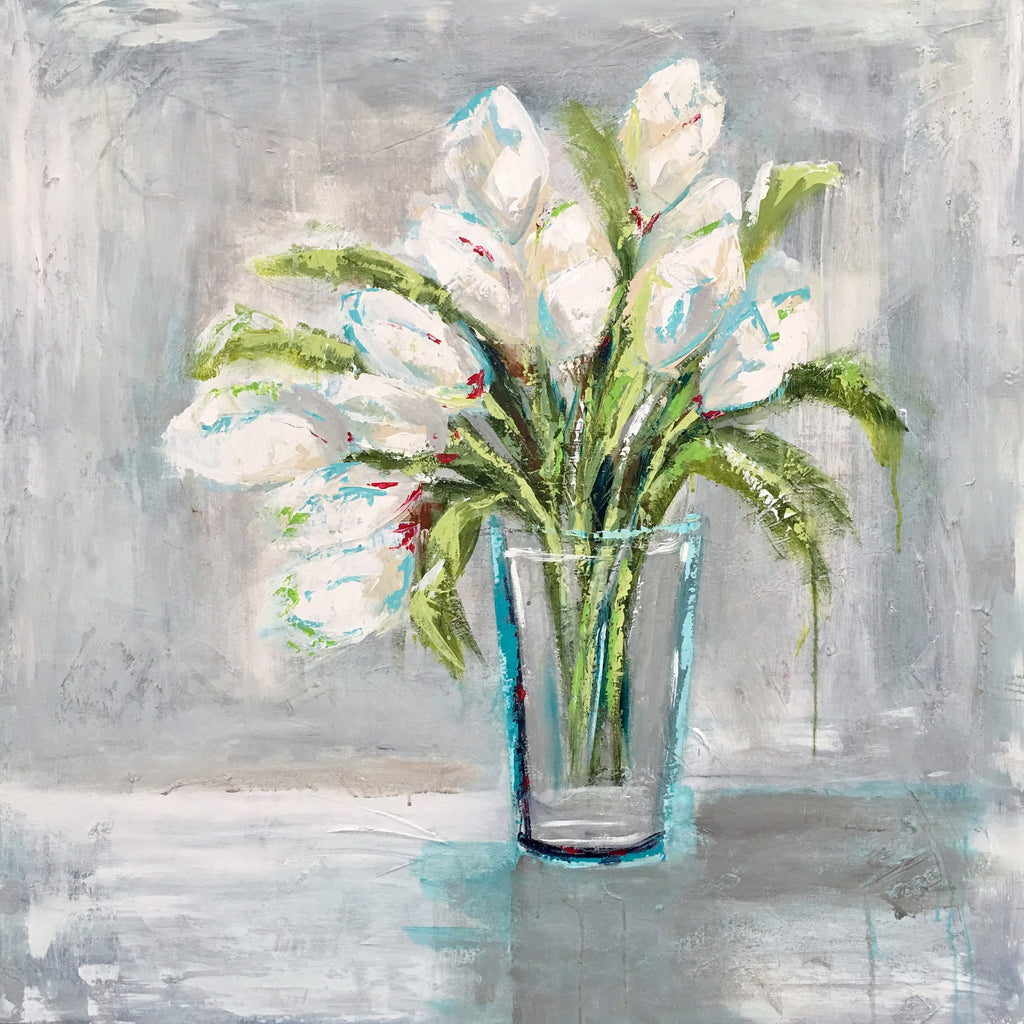 Vase of White Tulips painting Emma Bell - Christenberry Collection
