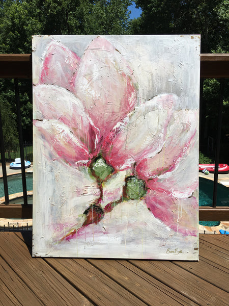 Vintage Magnolia painting Emma Bell - Christenberry Collection