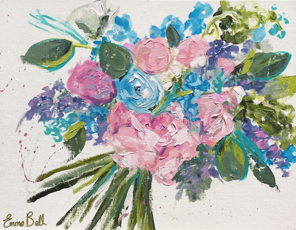 Mini Pink and Blue Bouquet I painting Emma Bell - Christenberry Collection