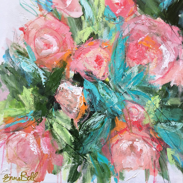 Garden Peonies painting Emma Bell - Christenberry Collection