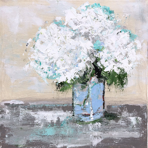 Hydrangeas on Gray Table painting Emma Bell - Christenberry Collection