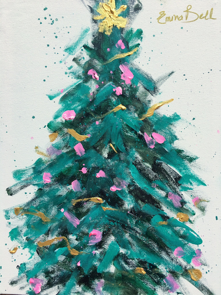 Teal and Pink Christmas Tree painting Emma Bell - Christenberry Collection