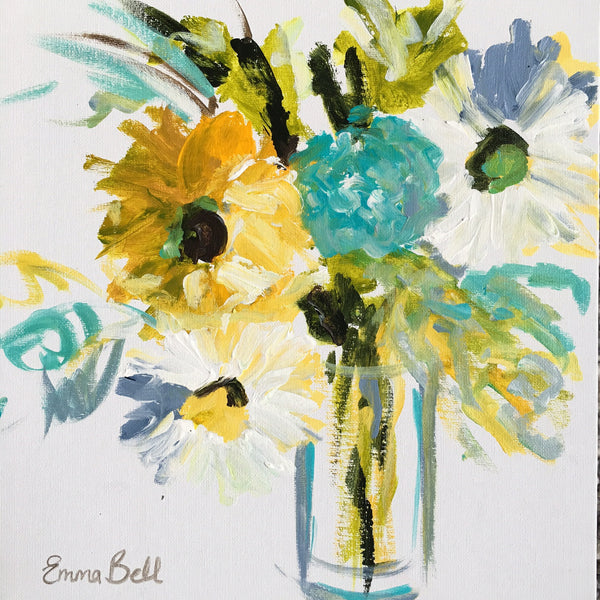 Mini Sunflowers and Daisies painting Emma Bell - Christenberry Collection