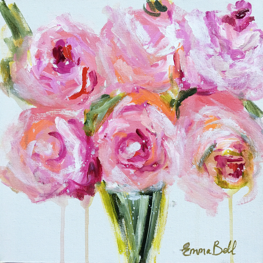 Mini Floral Peonies painting Emma Bell - Christenberry Collection