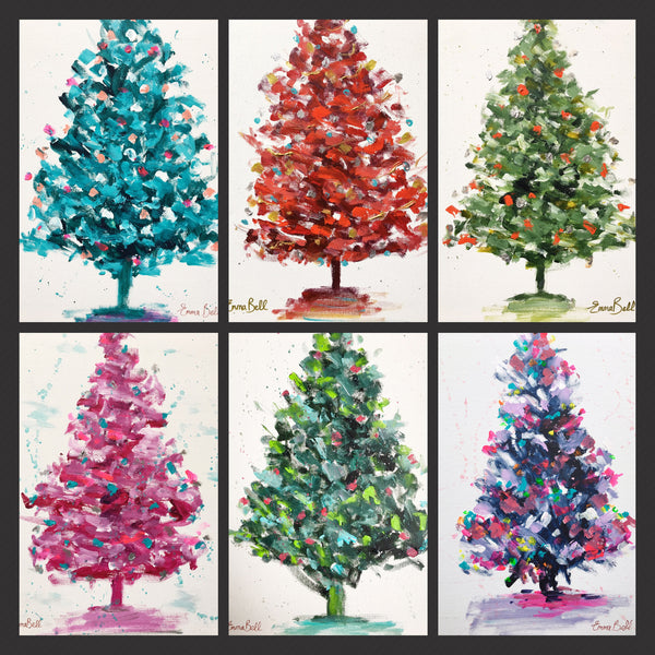 Red Christmas Tree painting Emma Bell - Christenberry Collection