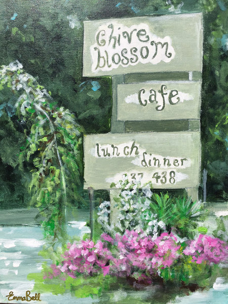 Chive Blossom Cafe, Pawleys Island painting Emma Bell - Christenberry Collection