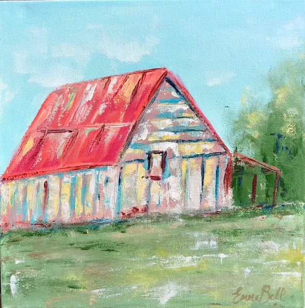 Old Red Barn painting Emma Bell - Christenberry Collection