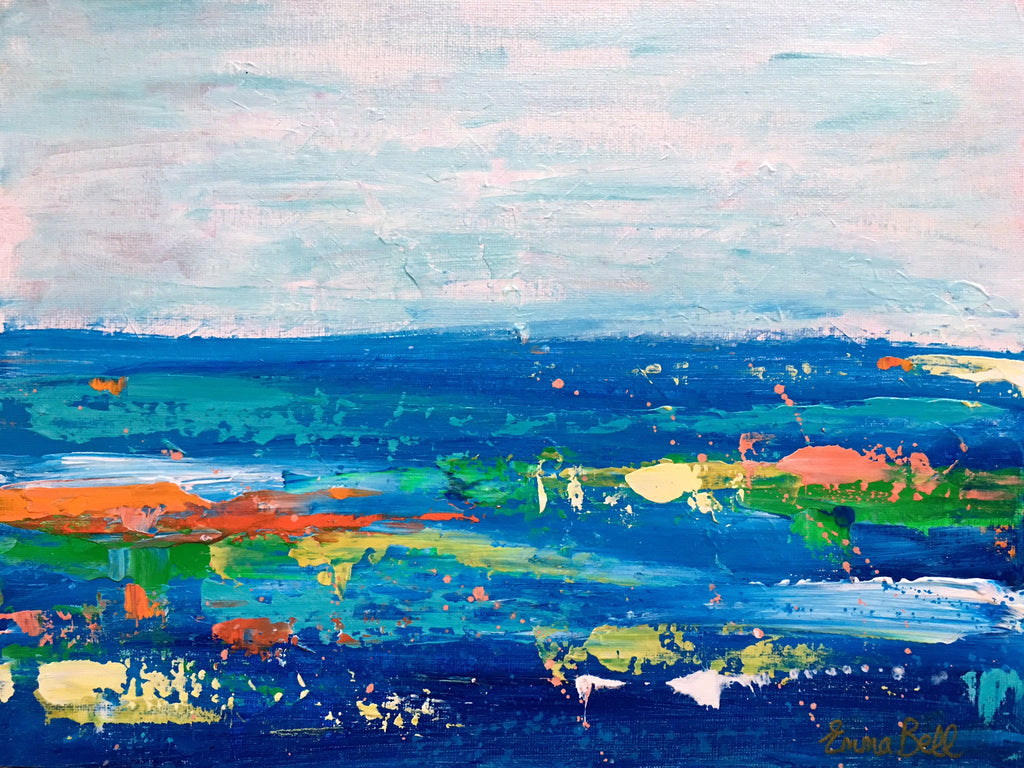 Blue and Green Landscape II painting Emma Bell - Christenberry Collection