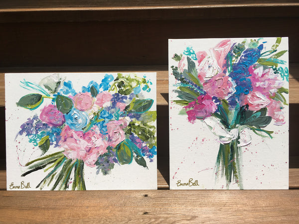 Mini Pink and Blue Bouquet II painting Emma Bell - Christenberry Collection