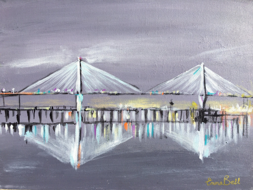Ravenel Bridge, Charleston painting Emma Bell - Christenberry Collection